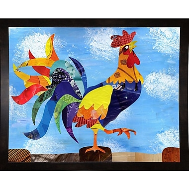 August Grove 'Colorful Rooster' Graphic Art Print; Black Medium Framed