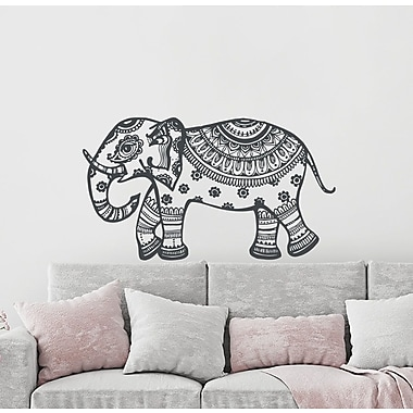 Decal House Elephant Mural Wall Decal; Black