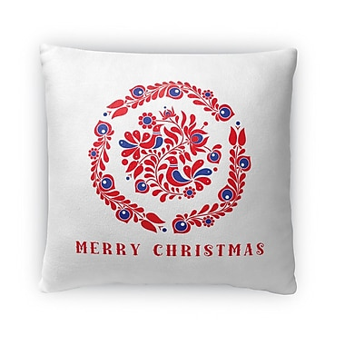 The Holiday Aisle Merry Christmas Birds Outdoor Throw Pillow; 18'' x 18''