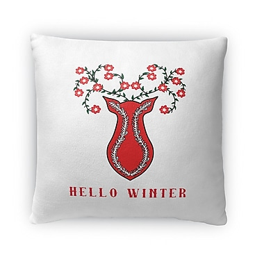 The Holiday Aisle Hello Winter Outdoor Throw Pillow; 16'' x 16''