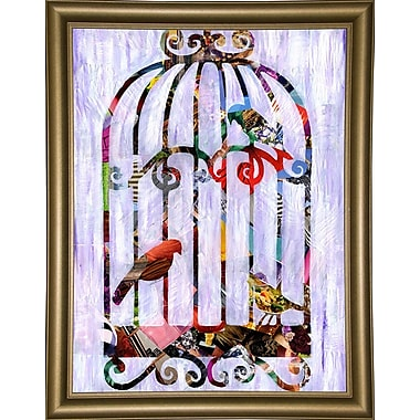 East Urban Home 'Bird Cage' Graphic Art Print; Bistro Gold Framed
