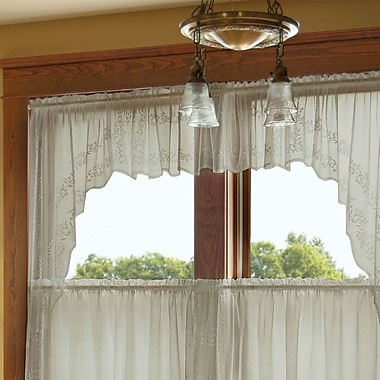 August Grove Charleville Sheer Divine Swag 63'' Window Valance (Set of 2); 46'' H x 80'' W x 1'' D