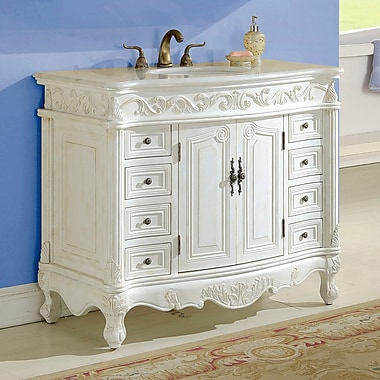 Astoria Grand Alexis 48'' Single Bathroom Vanity Set; Antique White