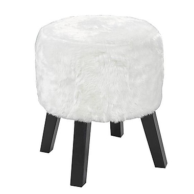 Union Rustic Bodhi Round Accent Stool; White