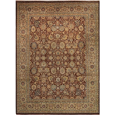 Astoria Grand Cleasby Hand Knotted Rectangle Wool Burgundy Area Rug