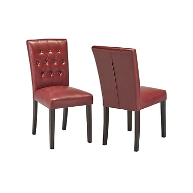 Charlton Home Ohlman Tufted Side Chair; Red