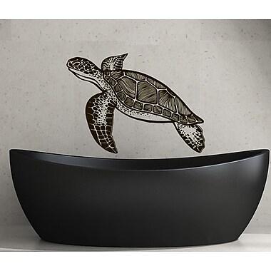 Decal House Turtle Bathroom Wall Decal; Black
