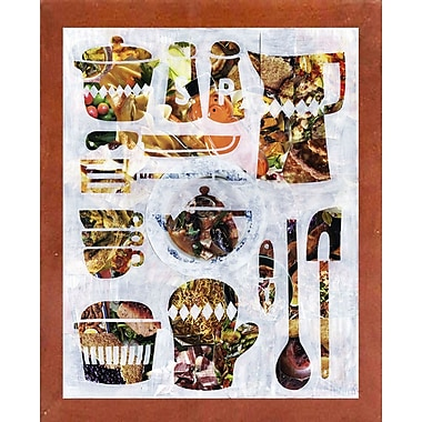 East Urban Home 'Kitchen Collection' Graphic Art Print; Canadian Walnut Medium Framed