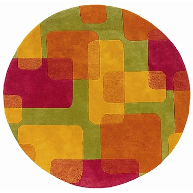 Zoomie Kids Leanne Lime Squares and Rectangles Rug; Round 5'