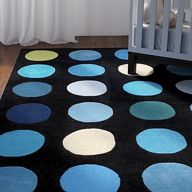 Zoomie Kids Ronnie Hand-Tufted Blue/Black Area Rug; 1'10'' x 2'10''