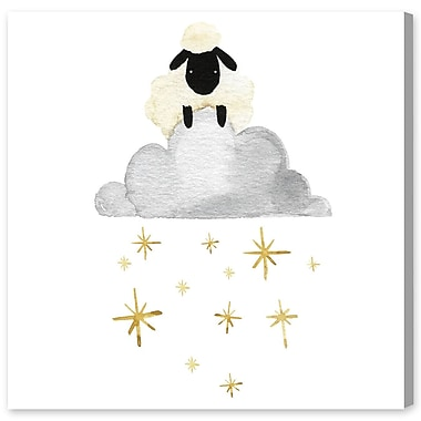 Harriet Bee 'Sheep Cloud And Stars' Graphic Art Print on Canvas; 43'' H x 43'' W x 1.5'' D