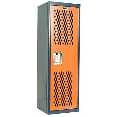 Hallowell 1 Tier 1 Wide Gym Locker; Dark Blue/Orange