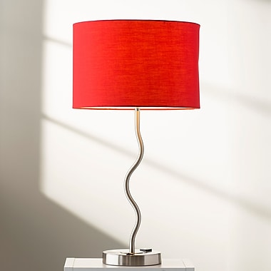 Latitude Run Janese Wave 28'' Table Lamp; Red