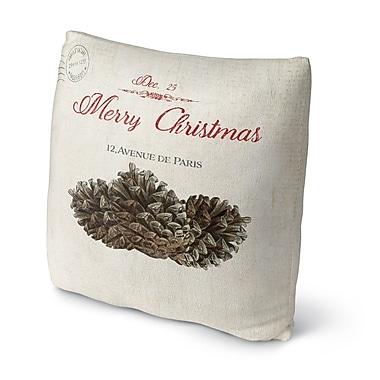 Red Barrel Studio Laurelynn Pine Cone Christmas Outdoor Throw Pillow; 18'' x 18''