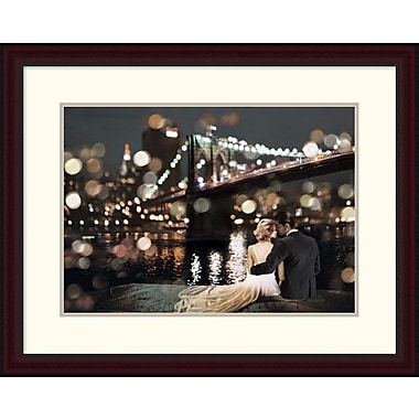 Global Gallery 'Kissing in a NY Night' by Loumer Framed Photographic Print; 23.62'' x 30'' x 1.5'' D