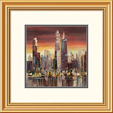 Global Gallery 'Sera su New York (Detail)' by Florio Framed Painting Print; 22'' x 22'' x 1.5'' D