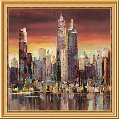 Global Gallery 'Sera su New York (Detail)' by Florio Framed Painting Print; 28'' x 28'' x 1.5'' D
