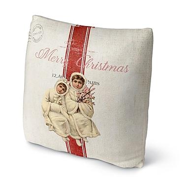 Red Barrel Studio Maddix Children At Christmas Outdoor Throw Pillow; 16'' x 16''