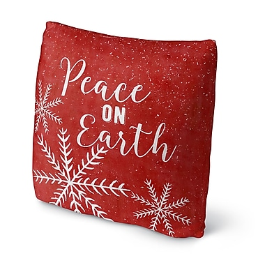 The Holiday Aisle 'Snowing Peace on Earth Outdoor Throw Pillow; 16'' x 16''