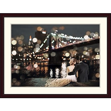 Global Gallery 'Kissing in a NY Night' by Loumer Framed Photographic Print; 36.4'' x 48'' x 1.5'' D