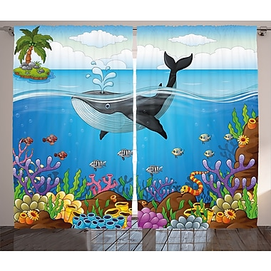 Noelle Master of the Oceans Graphic Print & Text Semi-Sheer Rod Pocket Curtain Panels (Set of 2)