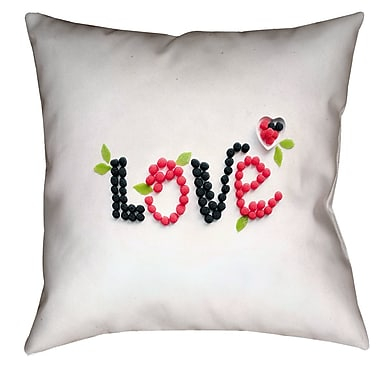 Latitude Run Buoi Love and Berries Square Double Sided Print Pillow Cover; 16'' x 16''