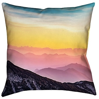 Latitude Run Thang Pastel Mountain Landscape Double Sided Print Square Pillow Cover; 18'' x 18''