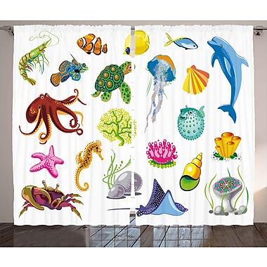 Zoomie Kids Bryanna Marine Sea Animals Semi-Sheer Rod Pocket Curtain Panels (Set of 2)