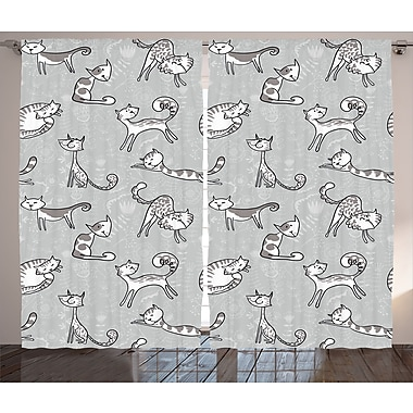 Zoomie Kids Alba Grey Cute Cat Graphic Print & Text Semi-Sheer Rod Pocket Curtain Panels (Set of 2)