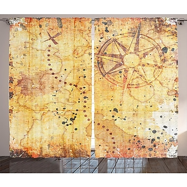 Zoomie Kids Alberto Island Map Graphic Print & Text Semi-Sheer Rod Pocket Curtain Panels (Set of 2)