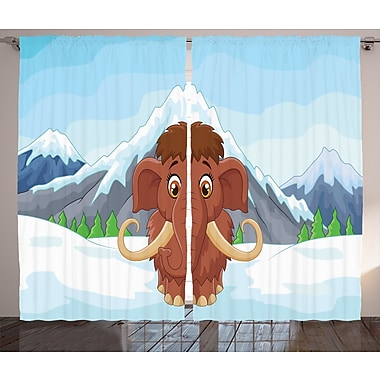 Alvin Baby Mammoth in Ice Graphic Print & Text Semi-Sheer Rod Pocket Curtain Panels (Set of 2)