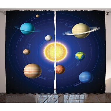 Noreen Space Solar System Graphic Print & Text Semi-Sheer Rod Pocket Curtain Panels (Set of 2)