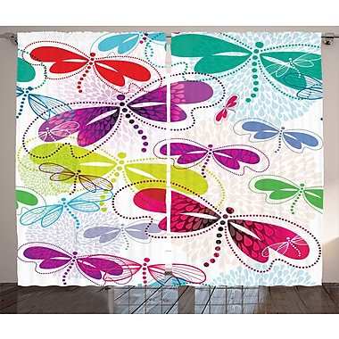 Zoomie Kids Jaxon Country Modern Dragonfly Semi-Sheer Rod Pocket Curtain Panels (Set of 2)