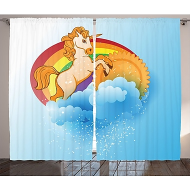 Zoomie Kids Braedon Unicorn on Sun Semi-Sheer Rod Pocket Curtain Panels (Set of 2); 54'' W x 84'' L