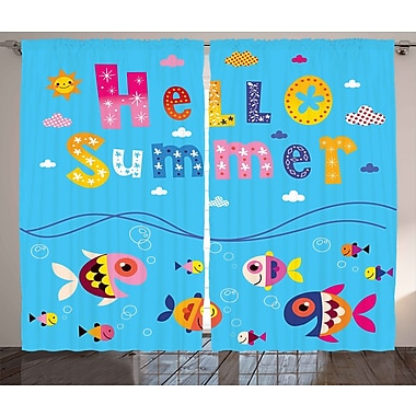 Zoomie Kids Emily Hello Quote Print Semi-Sheer Rod Pocket Curtain Panels (Set of 2); 54'' W x 96'' L