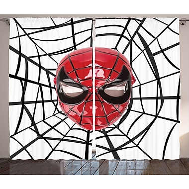 Zoomie Kids Jayson Superhero Hero Mask Semi-Sheer Rod Pocket Curtain Panels (Set of 2)