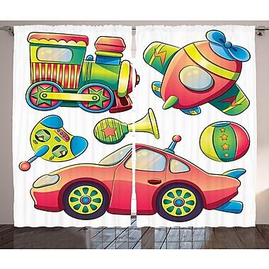 Otto Transportation Toys Graphic Print & Text Semi-Sheer Rod Pocket Curtain Panels (Set of 2)