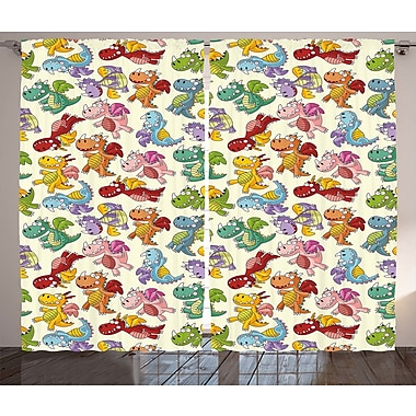Paige Happy Dinasours Graphic Print & Text Semi-Sheer Rod Pocket Curtain Panels (Set of 2)