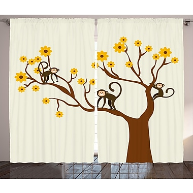 Patrick Animal Life Figure Graphic Print & Text Semi-Sheer Rod Pocket Curtain Panels (Set of 2)