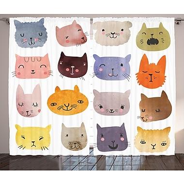 Zoomie Kids Pearl Cat Cute Graphic Print & Text Semi-Sheer Rod Pocket Curtain Panels (Set of 2)