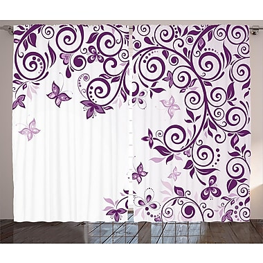 Quentin Mauve Floral Branch Graphic Print & Text Semi-Sheer Rod Pocket Curtain Panels (Set of 2)