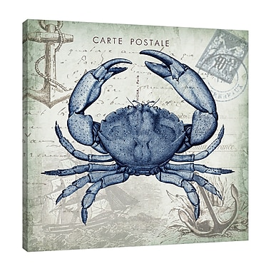 Breakwater Bay 'Seaside Postcard: Crab III' Graphic Art Print on Wrapped Canvas; 18'' H x 18'' W