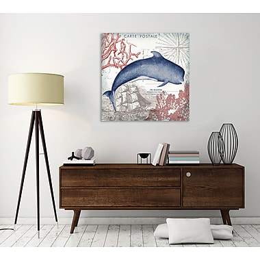 Breakwater Bay 'Seaside Postcard: Whale' Graphic Art Print on Wrapped Canvas; 48'' H x 48'' W