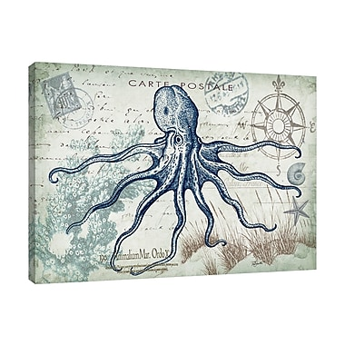 Breakwater Bay 'Seaside Postcard: Octopus' Graphic Art Print on Wrapped Canvas; 24'' H x 32'' W