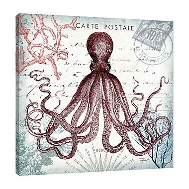 Breakwater Bay 'Seaside Postcard: Octopus II' Graphic Art Print on Wrapped Canvas; 48'' H x 48'' W