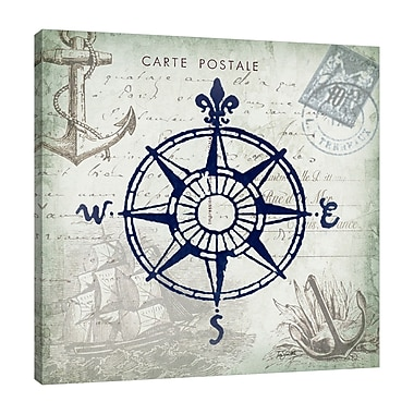 Breakwater Bay 'Seaside Postcard: Compass' Graphic Art Print on Wrapped Canvas; 30'' H x 30'' W