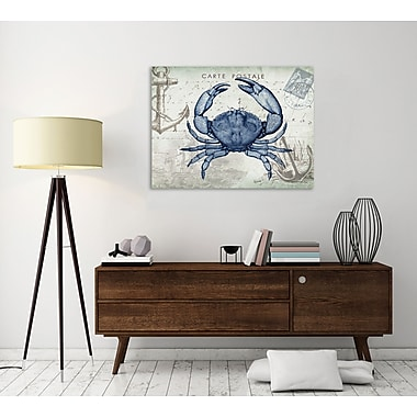 Breakwater Bay 'Seaside Postcard: Crab' Graphic Art Print on Wrapped Canvas; 15'' H x 20'' W