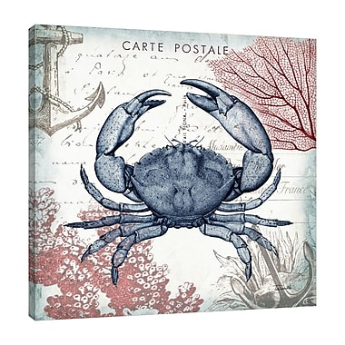 Breakwater Bay 'Seaside Postcard: Crab II' Graphic Art Print on Wrapped Canvas; 36'' H x 36'' W