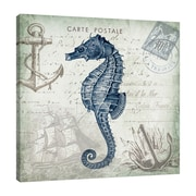 Breakwater Bay 'Seaside Postcard: Seahorse II' Graphic Art Print on Wrapped Canvas; 18'' H x 18'' W