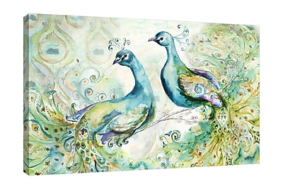 Bloomsbury Market 'Bohemian Peacocks' Print on Wrapped Canvas; 16'' H x 24'' W